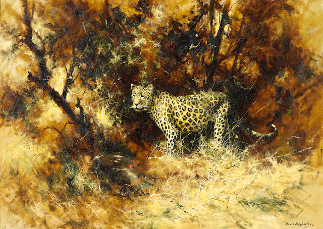 David Shepherd, O.B.E. (British, born 1931) Leopard and kill 20 x 28in (50.8 x 71.2cm)