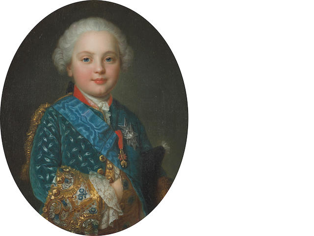 Studio of François Hubert Drouais (Paris 1727-1775) A portrait of a child of the royal family, half-length, wearing the Order of the Holy Spirit and the Order of the Golden Fleece, thought to be Charles Philippe of France oval, 23 3/4 x 19 3/4in (60.3 x 50.2cm)
