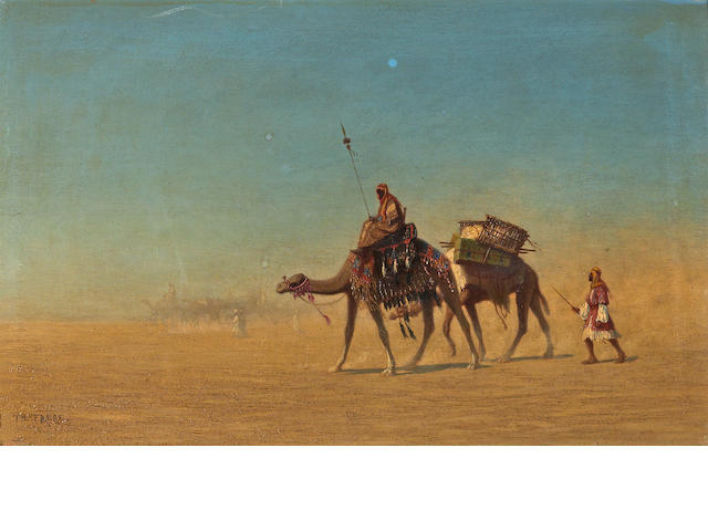 Charles Théodore Frère (Frère Bey) (French, 1814-1888) Une caravane 10 1/8 x 16 1/8in (25.6 x 41cm)
