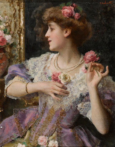 Federico Andreotti (Italian, 1847-1930) A moment's reflection 16 x 13in (40.6 x 33cm)