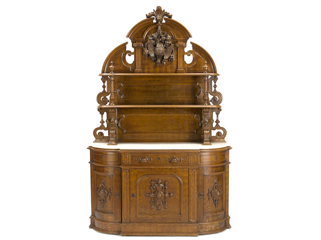 A Renaissance revival carved oak marble top sideboard New Yorkmid-19th century