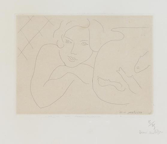 Henri Matisse (1869-1954); Jeune fille rêvant près d'un bocal de poissons;