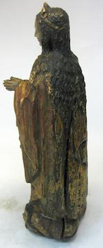 A Spanish Baroque polychrome and gilt decorated carved wood figure of the Virgin <BR />17th century