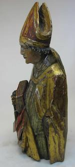 A German Renaissance polychrome and gilt decorated carved wood figure of a Bishop  16th century