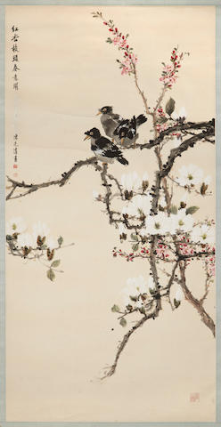 Two hanging scrolls, the first Chen Liangqing, magpies and magnolias; the second Jin Shoushin, birds and flowers, both ink and color on paper