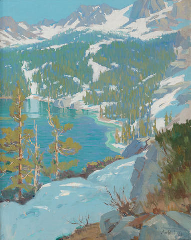 Elmer Wachtel (American, 1864-1929) High Sierra lake 18 x 13 3/4in