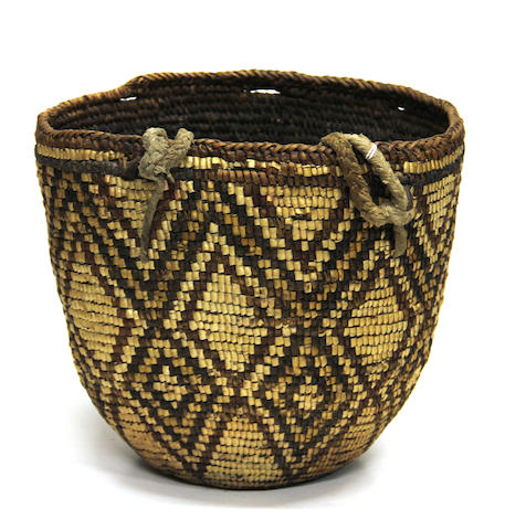 A Yakima polychrome basket with tumpline