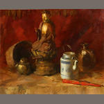 Sergei Bongart (Russian/American, 1918-1985) Still life with Buddha, teapot and fan 24 x 30in