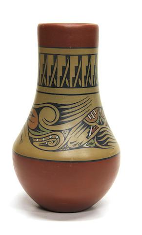 A Santa Clara polychrome vase