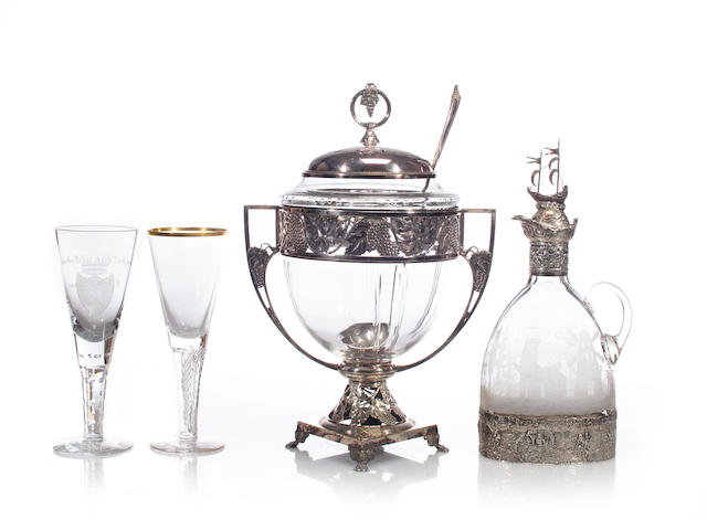 A German silver-plated punchbowl together with a German silver-mounted and glass decanter and two goblets