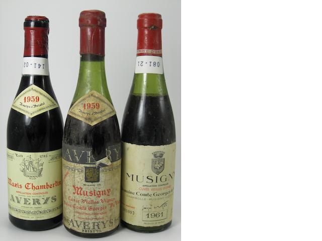 Latricieres Chambertin, Avery's 1959 (1 half-bottle)<BR />Mazy-Chambertin, Avery's 1959 (4 half-bottles)<BR />Musigny, Cuvée Vieilles Vignes, Comte de Vogüé 1959 (1 half-bottle)<BR />Musigny, Cuvée Vieilles Vignes, Comte de Vogüé 1961 (5 half-bottles)<BR />Corton, Clos du Roi, Avery's 1959 (1 half-bottle)