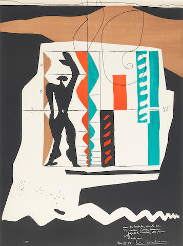 "LE CORBUSIER (French-Swiss, 1887-1965) ""Modulor"", 1956 LE CORBUSIER (French-Swiss, 1887-1965) ""Modulor"", 1956 Signed Lithograph 29 3/4"" x 20 1/2"" Framed and glazed"