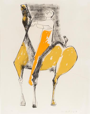 Marino Marini (1901-1980); Cavalier et Cheval, Orange et Jaune;