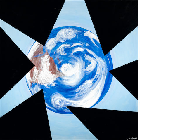 A FRANK SINATRA PAINTED OIL PANTING DEPICTING THE EARTH FROM SPACE IN AN ABSTRACTED BACKROUND.