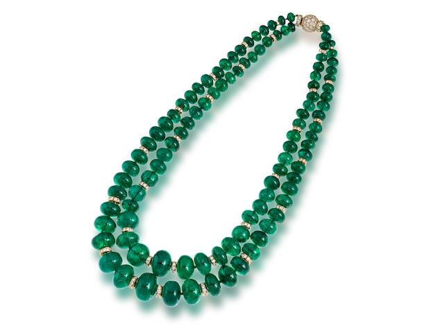 An emerald and diamond necklace, Bulgari