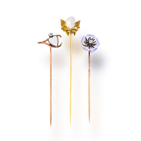 A group of three antique stick pins, circa 1900