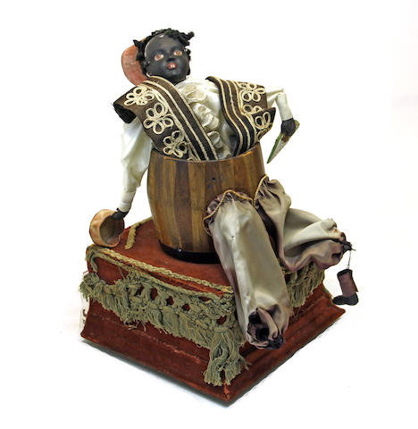 A Continental composition, porcelain, wood and fabric figural automaton