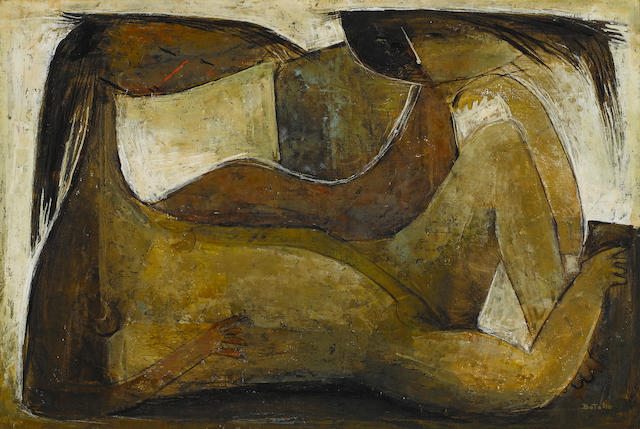Ángel Botello (Puerto Rican, 1913-1986) Reclining Figure<BR /> 24 x 36 in. (60.9 x 91.4 cm)