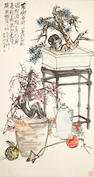 Two hanging scrolls, Gao Jun (1900-1960) and Zhao Yunhuo (1874-1955) both still life, ink and color on paper