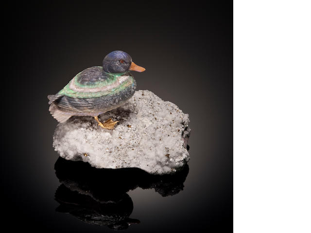 Black Matrix Opal Carving of a Duck By Gerd Moser Idar-Oberstein, Germany