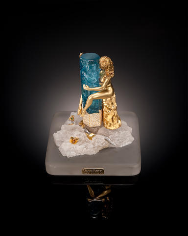 "Carved Gem Aquamarine, Diamond, Platinum and Gold Sculpture—"" Lost Love"""
