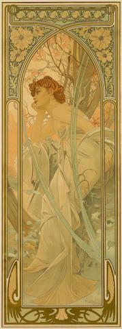 Alphonse Mucha (1860-1939); Rêverie du Soir, from Heures du Jour;