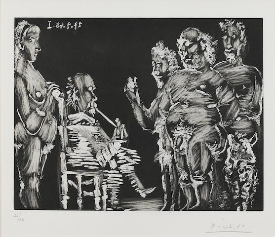 Pablo Picasso (1881-1973); Trois vieux Copains en visite: Monsieur Fume, Madame Surveille, pl. 340, from Séries 347;