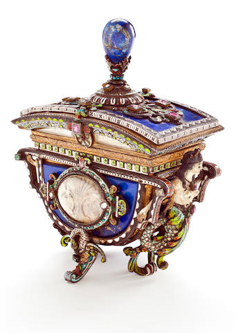A Viennese enameled, lapis clad and jewel-mounted covered jewelry box 19th century