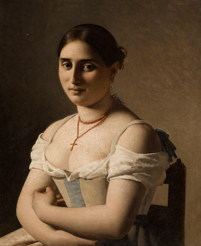 French School, 19th Century SENDING TO C O'B A portrait of a young woman 29 x 23 1/2in