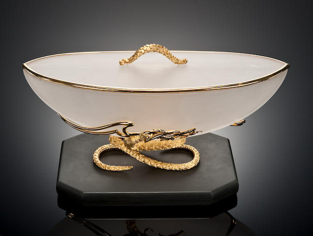 Rock Crystal Quartz Presentation Bowl with 18K Yellow Gold Mounting  By Henry Dunay