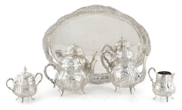 A German 800 standard silver tea and coffee service
