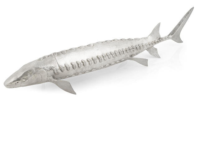 An Elizabeth II  cast sterling silver  sturgeon-form caviar server by Asprey & Co., London,  1959