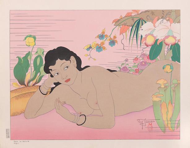 """Paul Jacoulet (1896-1960); Calme. """"Truck""""; Dans la Nature. Angur; (2)"""