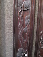 A pair of carved hardwood wall panels Late Qing/Republic period