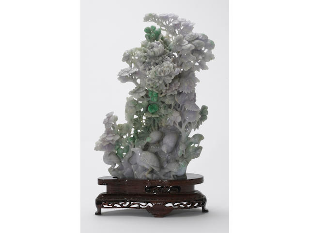 A Chinese jadeite carving of birds, modern<BR />height 16 3/4 inches