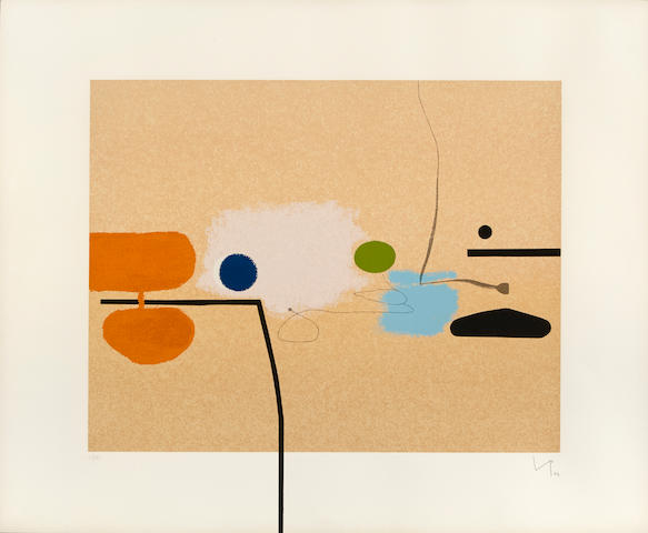 Victor Pasmore (1908-1998); Composite image with orange and pink;