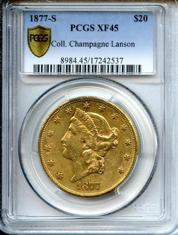 1877-S $20 XF45 PCGS