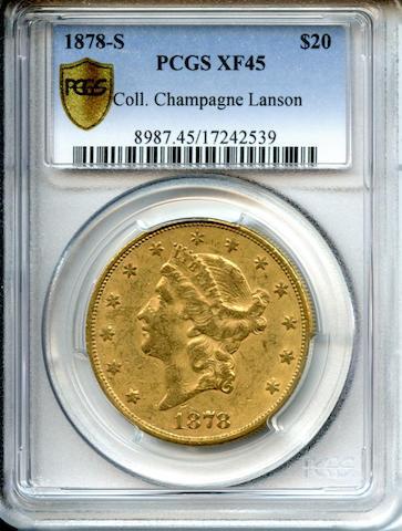 1878-S $20 XF45 PCGS