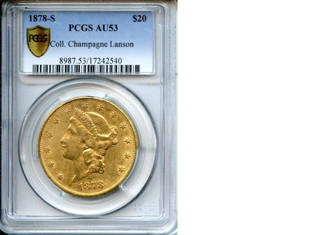 1878-S $20 AU53 PCGS