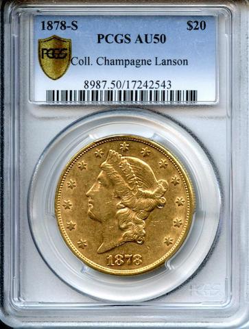 1878-S $20 AU50 PCGS