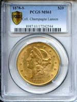 1878-S $20 MS61 PCGS