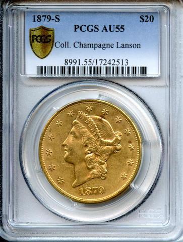 1879-S $20 AU55 PCGS