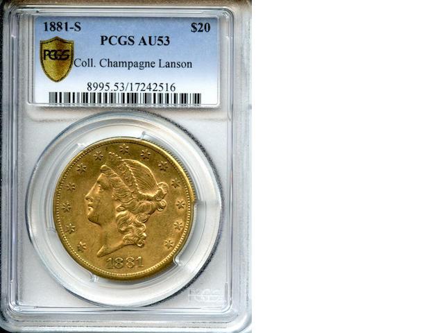 1881-S $20 AU53 PCGS