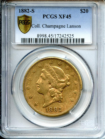 1882-S $20 XF45 PCGS