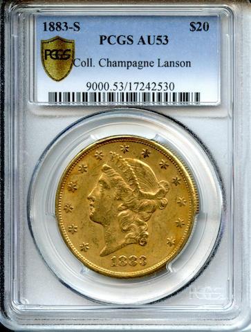 1883-S $20 AU53 PCGS