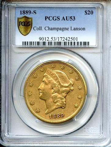 1889-S $20 AU53 PCGS