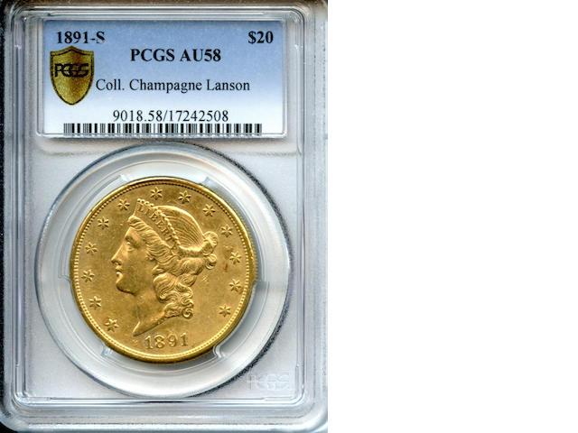 1891-S $20 AU58 PCGS