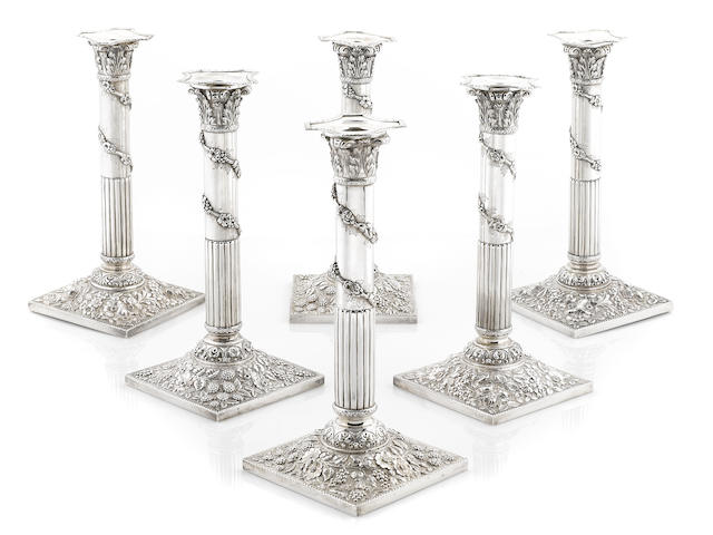 A Sterling set of six columnar candlesticks