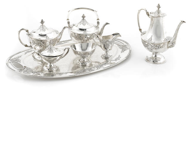 A Chinese Export silver tea and coffee service (repairs; lacking kettle stand)