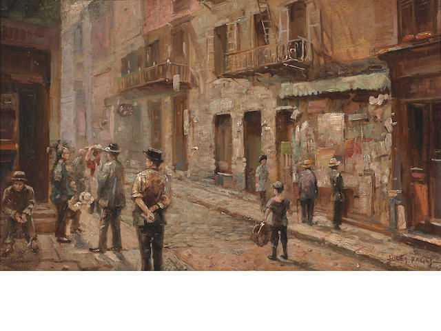 Jules Eugène Pages (American, 1867-1946) Chinatown, 1938 11 x 17 1/2in